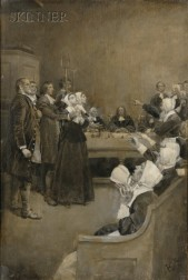 Howard Pyle (American, 1853-1911)      The Trial of a Witch