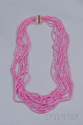 Multi-strand 18kt Gold and Pink Sapphire Necklace