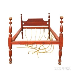 Country Red-painted Four-post Rope Bed