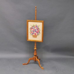 Queen Anne-style Tiger Maple Fire Screen