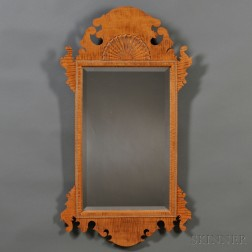 Chippendale-style Fan-carved Tiger Maple Mirror