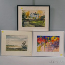 Three Framed 20th Century American Watercolor Landscapes:      Gloria Malcolm Arnold, Berkshire Farm House
