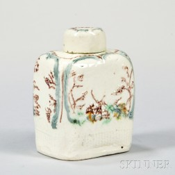 Staffordshire Lead-glazed Creamware Tea Canister and Cover