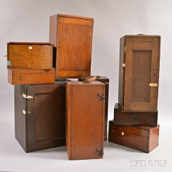 Nine Assorted Microscope Boxes and Glass Microscope Slides.    Estimate $100-150