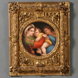 Italian Hand-painted Porcelain Plaque Depicting the Madonna della Seggiola
