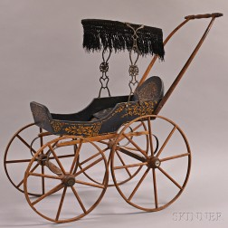 Stenciled Wood Doll Carriage