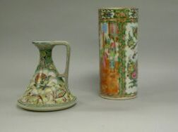 Chinese Export Porcelain Rose Medallion Vase and a Moriageware Ewer.