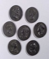 Seven Wedgwood and Bentley Black Basalt Oval Portrait Medallions