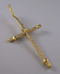 18kt Gold and Diamond Cross