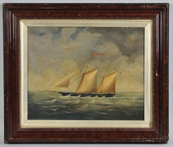 American School, Late 19th Century      Portrait of a Yacht