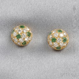 18kt Gold, Emerald, and Diamond Earstuds, Cartier