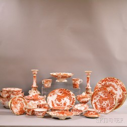 "Extensive Group of Royal Crown Derby ""Red Aves"" Porcelain Dinnerware.     Estimate $3,000-5,000"