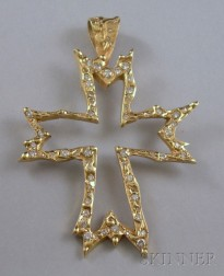 14kt Gold and Diamond Cross