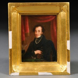 Anglo/American School, 19th Century      Small Portrait of a Gentleman with a Book and Writing Utensils.