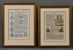 Incunabula Leaves, Nuremberg Chronicle, Two Framed Leaves, One Hand-colored.