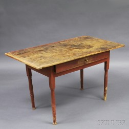 Country Red-painted One-drawer Tavern Table