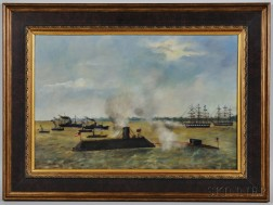 American School, Late 19th Century      The Battle of Hampton Roads, between the Monitor