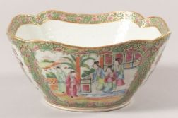 Cut Corner Rose Medallion Porcelain Bowl