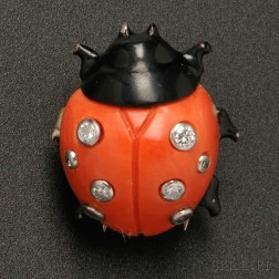 """18kt White Gold, Black Lacquer, Coral, and Diamond """"Ladybird"""" Brooch, Cartier"""