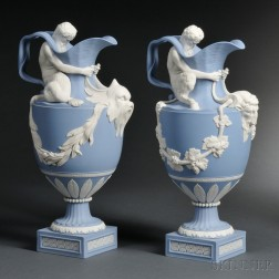 Pair of Modern Wedgwood Solid Light Blue and White Jasper Wine and Water Ewers