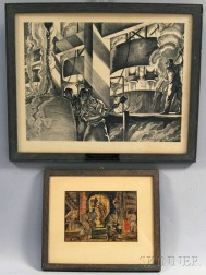 Attributed to Arthur Sinclair Covey (American, 1877-1960)      Two Framed Works: Factory Interior