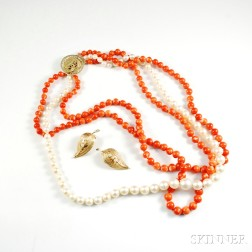 Triple-strand Coral and Pearl Necklace and 14kt Gold Earclips