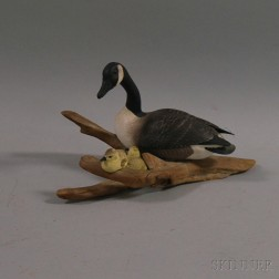 Carved and Painted Basswood Canada Goose with Goslings