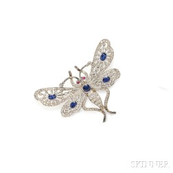 Platinum, Sapphire, and Diamond Insect Brooch