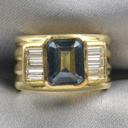 18kt Gold, Blue Topaz, and Diamond Ring