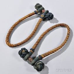 Pair of Cord-wrapped Leather and Fabric Becket Handles