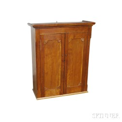 Country Carved Cherry Hanging Wall Cupboard