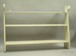 White-painted Wooden Whale-end Wall Shelf