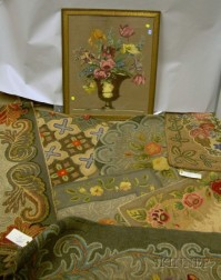 Seven Hooked Rugs and a Framed Needlepoint Floral Panel