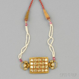 18kt Gold, Enamel, Diamond, and Seed Pearl Necklace