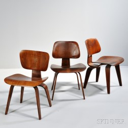 Three Early Charles Eames LCW Chairs