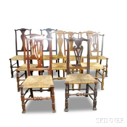 Assembled Set of Nine Queen Anne Country Side Chairs.     Estimate $400-600