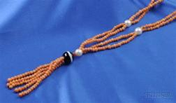 Coral, Cultured Pearl, and Banded Onyx Necklace