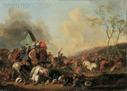 Continental School, 18th Century      Ottoman-Habsburg War Scene, Possibly the Battle of Belgrade (1717)