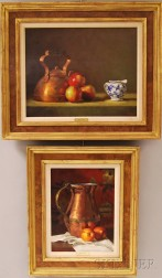 Gregory Stewart Hull (American, b. 1950)      Two Works: Still Life with Copper Tea Kettle