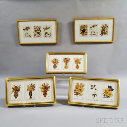 Fifteen Framed Dried Floral Arrangements
