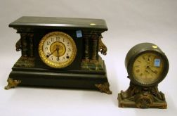 Seth Thomas Brass Cased Alarm Clock and Mantel Clock by E. Ingraham & Co.