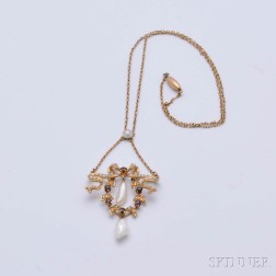 14kt Gold, Pearl, and Garnet Lavaliere