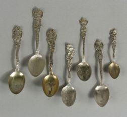 Group of Thirty-eight Sterling Souvenir Spoons of Midwestern States