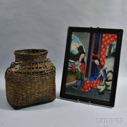 Framed Reverse-painted Portrait of Two Geishas and a Basket.     Estimate $100-150