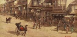 French/Japanese School, 19th Century    A View of the Shops by Rickshaw