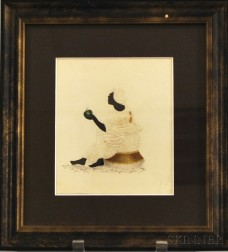 Small Framed Pinpricked Stippled Watercolor