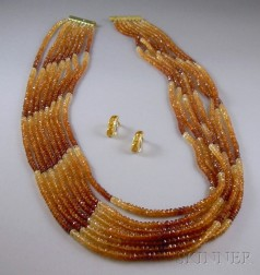 Multi-strand Citrine Necklace and Earclips