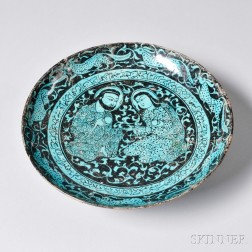 Turquoise and Black Kashan Plate