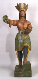 Carved and Polychrome Painted Wooden Indian Tobacconist Trade Figure