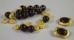 14kt Gold and Onyx Bead Necklace and Earclips